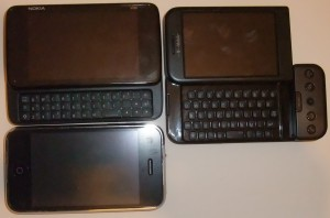 N900 (top left), G1 (top right), iPhone 3GS (bottom)